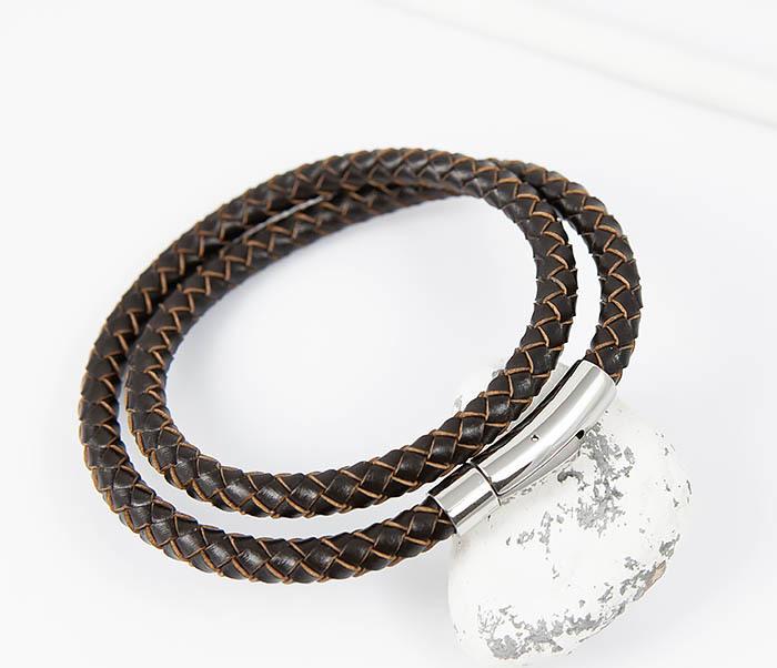 BM513-2 Мужской двойной браслет из кожаного шнура (20 см)