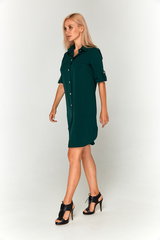 Темно-зеленое платье-рубашка