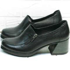 Женские модные туфли на толстом каблуке демисезонные H&G BEM 107 03L-Black.