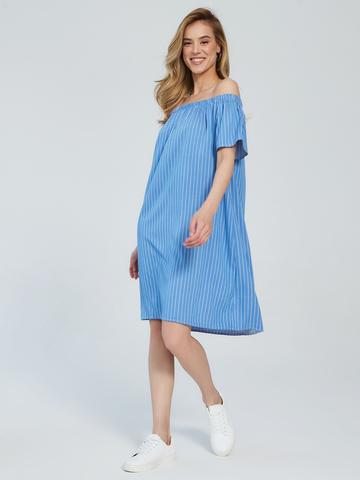 BM Платье в полоску на резинке Голубой