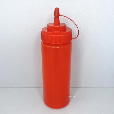 Диспенсер пластиковый для соусов и сиропов 350 мл красный