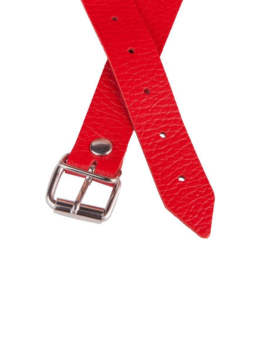 Красный кожаный кляп на регулируемых ремешках