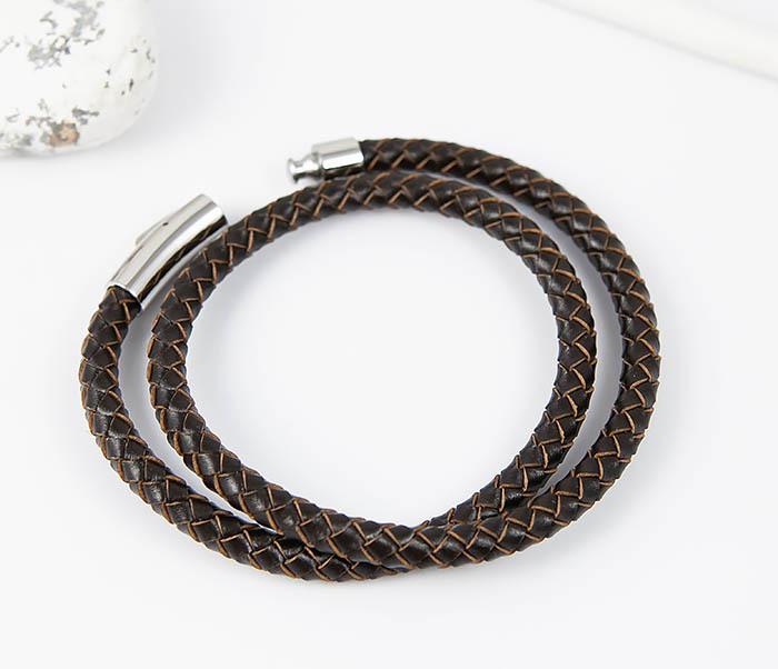BM513-2 Мужской двойной браслет из кожаного шнура (20 см) фото 02