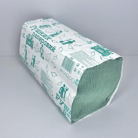Полотенце бумажное листовое макулатурное Альбатрос V сложения 1сл. (160 л.) зеленое