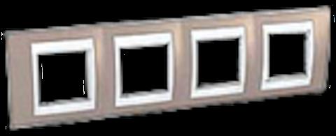 Рамка на 4 поста. Цвет Коричневый/Бежевый. Schneider electric Unica Хамелеон. MGU6.008.574