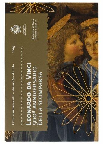2 евро. 500 лет со дня смерти Леонардо да Винчи. Сан-Марино. 2019 г. В буклете