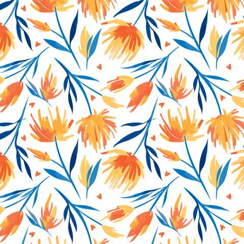 Оранжевые астры с синими листьями