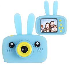 фотоаппарат для ребенка заяц синий с силиконовым чехлом