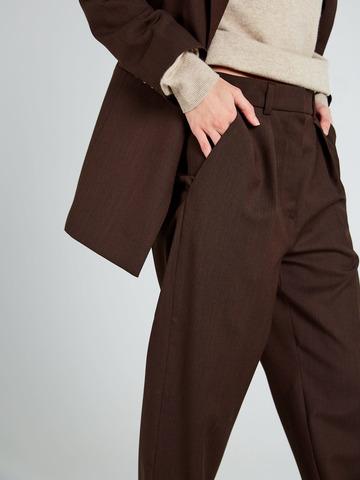 Брюки с защипами из шерсти коричневый