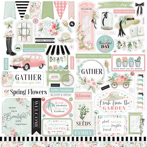 Лист стикеров Carta Bella - FLOWER GARDEN - 30х30 - 80 шт