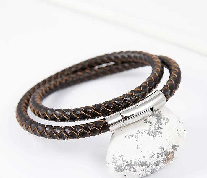 BM513-2 Мужской двойной браслет из кожаного шнура (20 см) фото 04