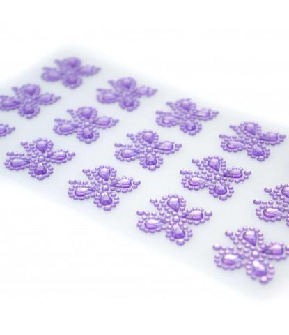 Стразы самоклеющиеся бабочки лиловые 15 шт