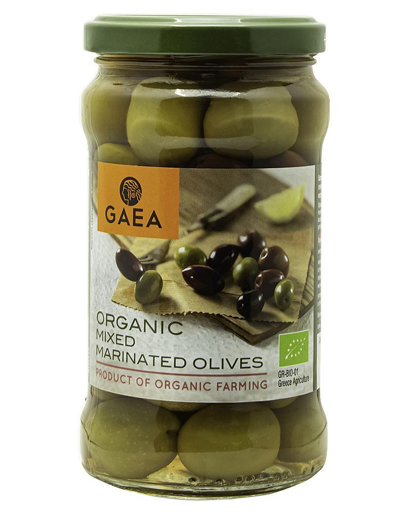 Ассорти маринованных оливок органик GAEA с косточкой 300г