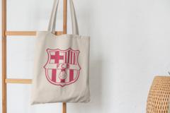 Сумка-шоппер с принтом FC Barcelona (ФК Барселона) бежевая 001