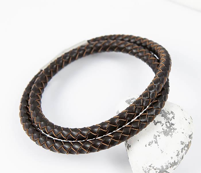 BM513-2 Мужской двойной браслет из кожаного шнура (20 см) фото 05