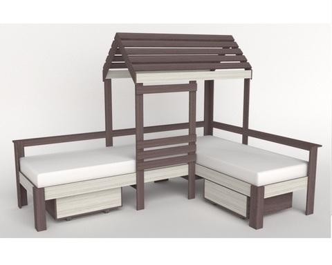 Кровать-домик АВАРА-4 с ящиками левая 1700-700 /2552*1800*1832/