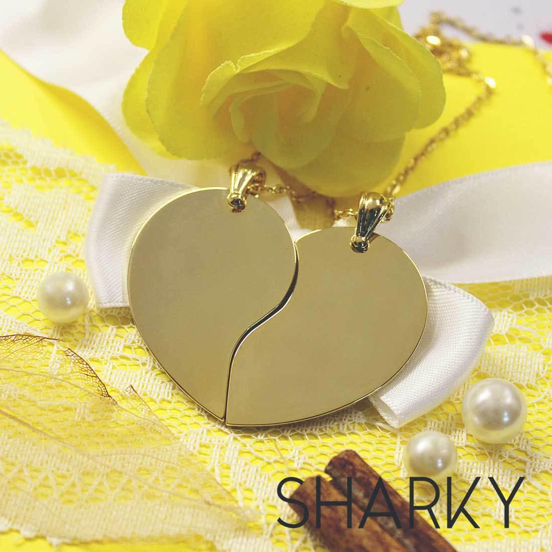 Парные кулоны Половинки сердца для двоих с гравировкой на заказ