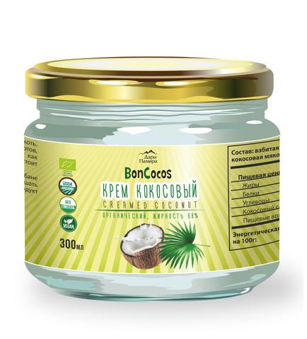 Крем кокосовый органический BONCOCOS, без сахара, жирность 68%, 300 мл