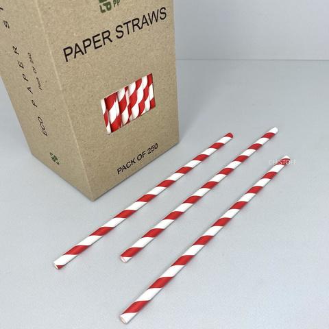 Трубочки бумажные (250 шт.) белые с красными полосками
