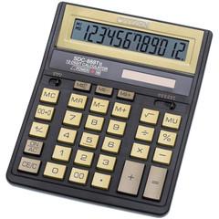 Калькулятор настольный ПОЛНОРАЗМЕРНЫЙ Citizen SDC-888TII Gold 12-разрядный золотистый
