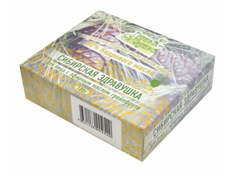 Взбитое натуральное кедровое мыло ручной работы с 80% маслом кедра и ЭМ Грейпфрута Сибирская здравушка, 100 г