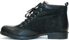 Красивые зимние ботинки мужские кожаные Luciano Bellini 6057-58K Black Leathers & Nubuk.
