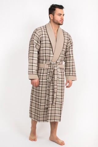 Вафельный  мужской халат Gentelmen Style бежевый
