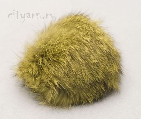 Помпон из меха кролика, зелёно-чёрный, диаметр 8 см