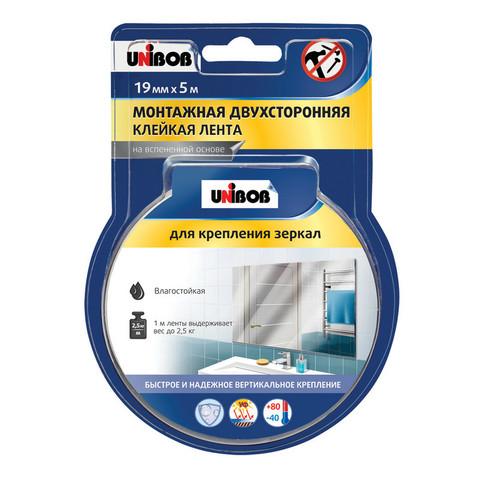 Скотч клейкая лента двусторонняя монтажная для крепления зеркал Unibob на вспененной основе 19 мм х 5 м