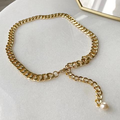 Колье-цепь панцирного плетения с декоративной цепочкой (золотистый)