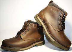Модные ботинки мужские зимние кожаные классические. Коричневые ботинки с мехом Ікос Brown Leather.