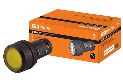 Кнопка SB7-CW3561-24V(LED) d22мм 1з, желтая TDM