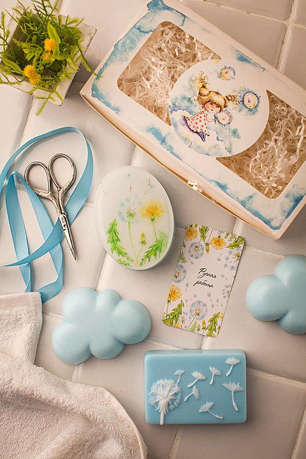 Бирка для мыла ручной работы Одуванчики