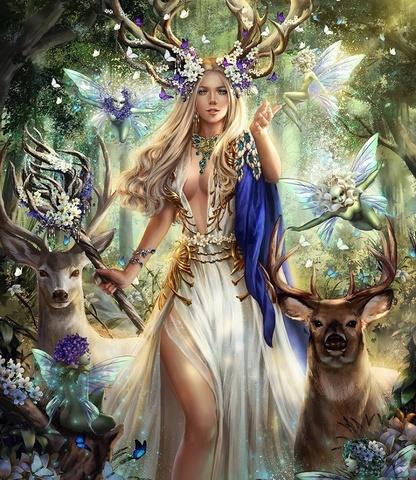 Картина раскраска по номерам 40x50 Повелительница леса с оленями