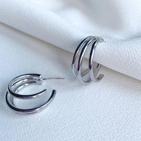 Серьги-колечки тройные незамкнутые (серебристый)