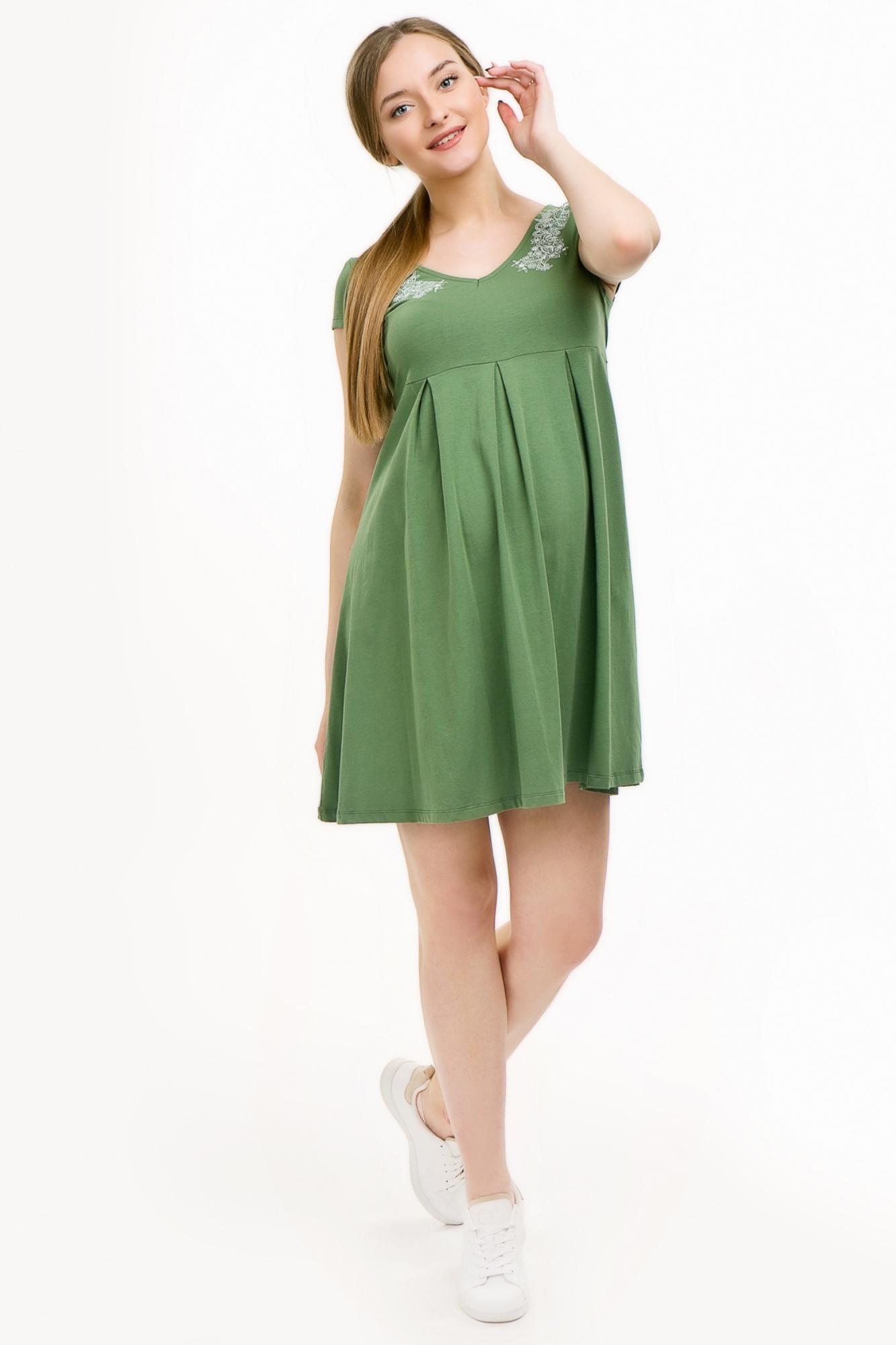 Платье для беременных и кормящих 08511 оливковый