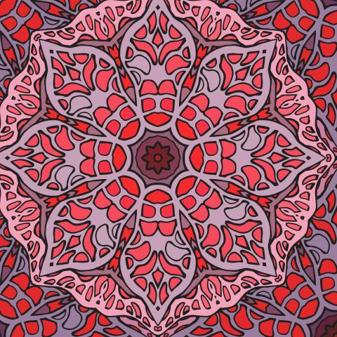Витражная цветочная дудл мандала