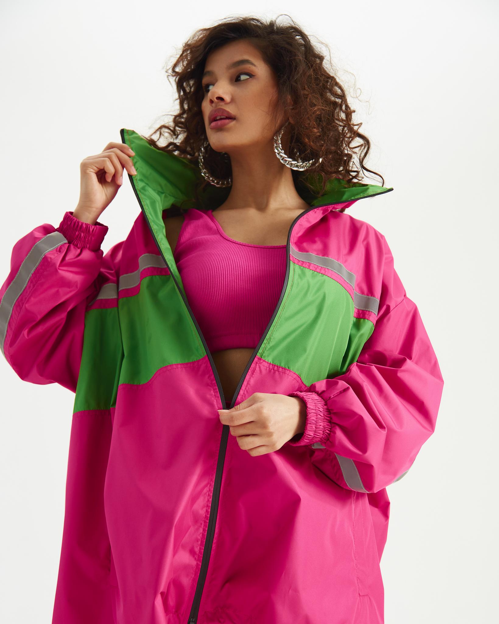 Ветровка Розовая с зелеными и неоновыми вставками