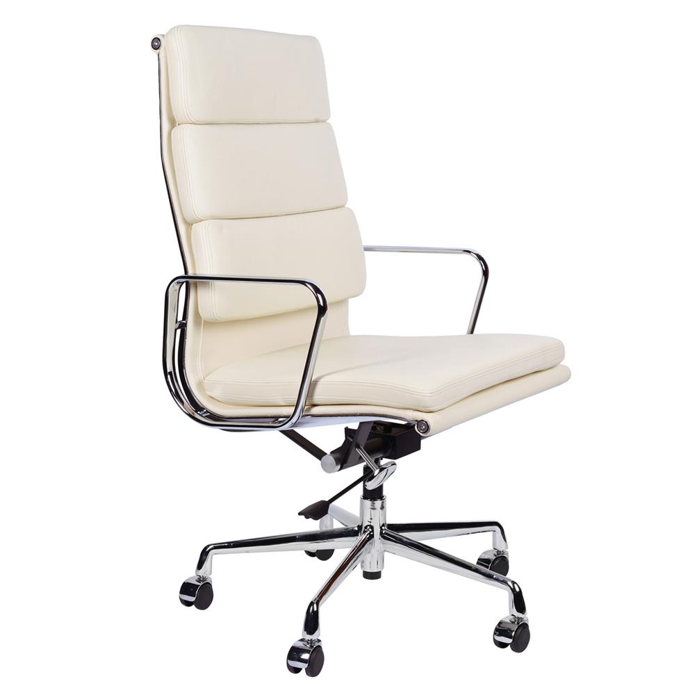 Кресло Eames Style HB Soft Pad Executive Chair EA 219 кремовая кожа - вид 1