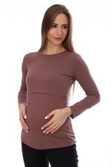 Мамаландия. Лонгслив для беременных и кормящих, коричневый меланж вид 2