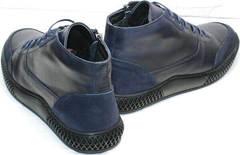 Теплые ботинки синие осень зима мужские Luciano Bellini BC2802 L Blue.