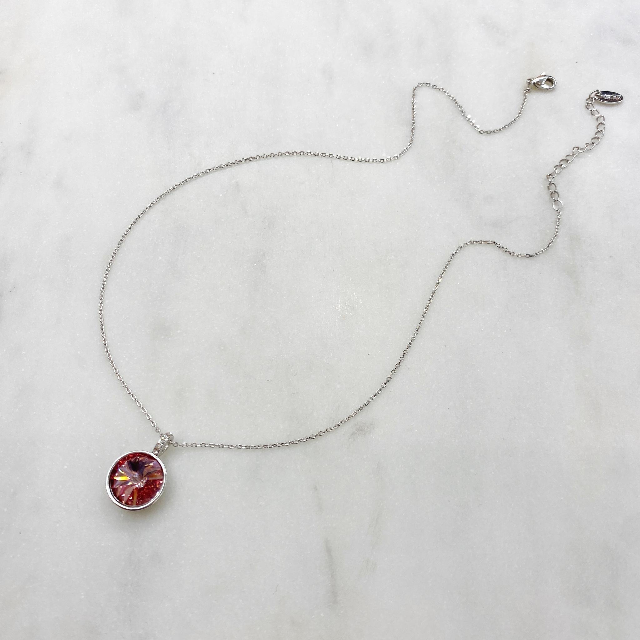 Подвеска Rivoli с кристаллом Swarovski (бордовый, серебристый)