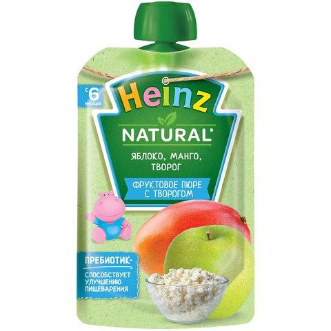 Пюре Heinz яблоко, манго, творог пауч 90 гр. (5+ мес.)