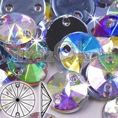 Стразы пришивные акриловые Rivoli Crystal AB, Риволи Круг Кристал АБ прозрачный с радужным покрытием купить дешево оптом