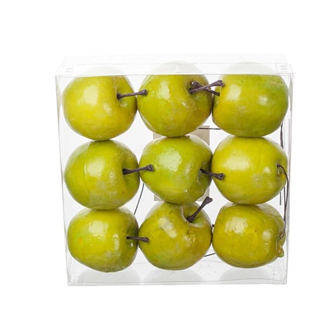 Набор яблок на проволоке 9шт., 5см, цвет:зеленый