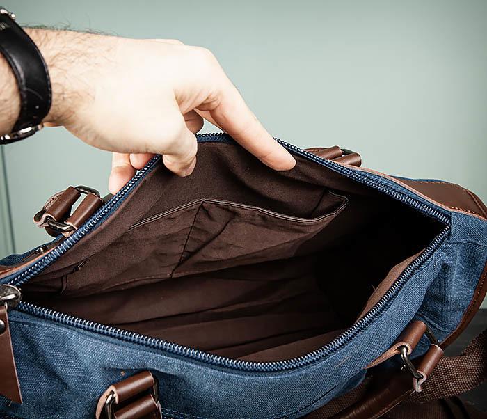 BAG501-3 Сумка для ручной клади из ткани синего цвета фото 12