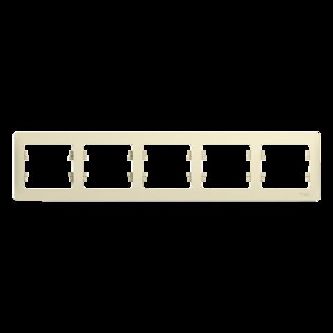 Рамка на 5 постов, горизонтальная. Цвет Бежевый. Schneider Electric Glossa. GSL000205