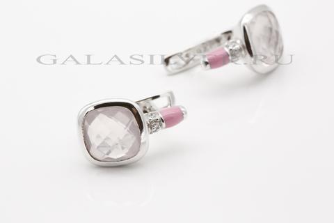 Серьги с розовым кварцем, эмалью и цирконом из серебра 925