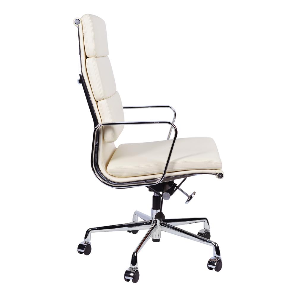 Кресло Eames Style HB Soft Pad Executive Chair EA 219 кремовая кожа - вид 3