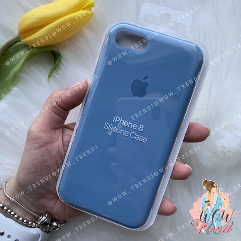 Чехол iPhone 7/8 Silicone Case /azure/ джинс original quality